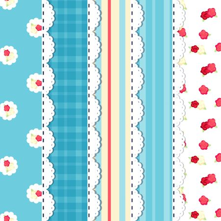 shabby chic. provence style pattern set. blue red yellow. stripe, roses.