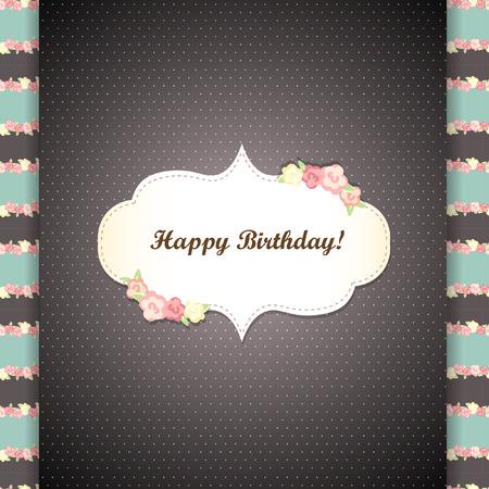shabby chic: Cute blue and gray happy birthday card. shabby chic Illustration