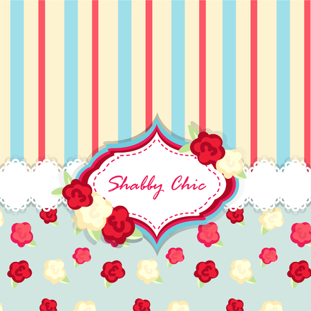 provence: shabby chic. provence style. invitation or congratulation card. floral frame. red blue yellow