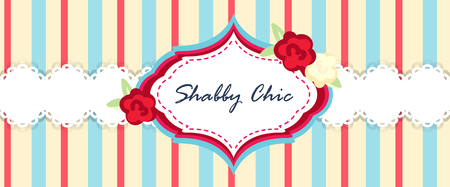 provence: shabby chic. provence style. invitation or congratulation card. floral frame. red blue yellow. Illustration