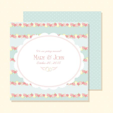 Marriage invitation card shabby chic wedding invitation vector marriage invitation card vector illustration shabby chic design blue color save the stopboris Gallery