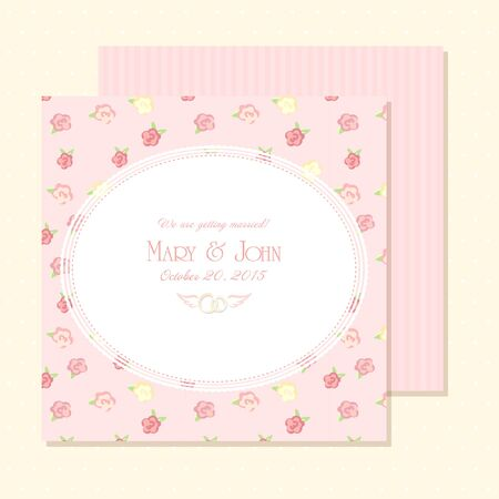 Marriage invitation card shabby chic wedding invitation vector marriage invitation card vector illustration shabby chic design pink color save the stopboris Gallery