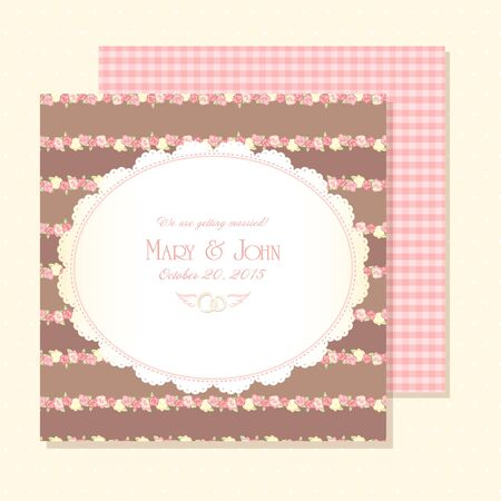 Marriage invitation card shabby chic wedding invitation vector marriage invitation card vector illustration shabby chic design pink and brown color stopboris Gallery