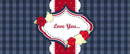 provence: shabby chic. provence style. invitation or congratulation card. floral frame. dark blue, red, yellow Illustration