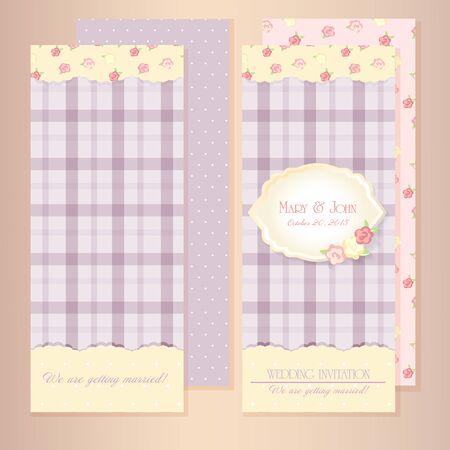 chic: Beautiful shabby chic wedding invitations. Vector illustration