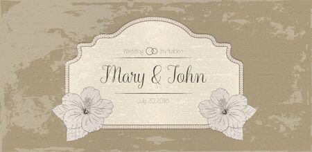 sharpen: illustration with hibiscus flowers. Vector congratulation or invitation card. aged sharpen beige background. badge, label, banner Illustration