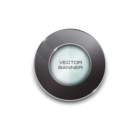 shiny button: round design with a glass surface. shiny button with metallic elements. black frame