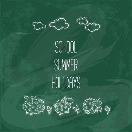 sheeps: School summer holidays. poster with doodles. Background On Chalkboard. cute sheeps Illustration