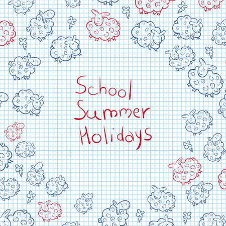 shool: Vector Illustration Sketch of Sheep. Cute Sheep background.  School theme. notebook. back to shool. summer holidays