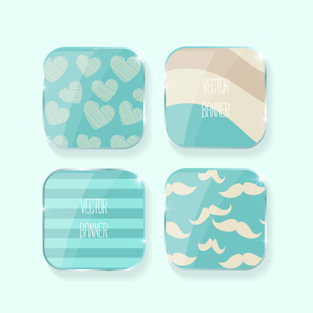 mustaches: Vector banners set.. glass elements. blue color. Vector label . hearts, stripe, mustaches Illustration