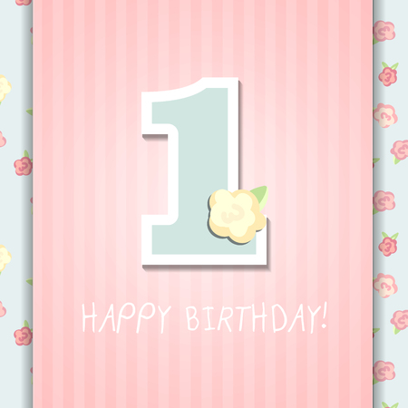 first birthday: Happy First Birthday Anniversary card with roses