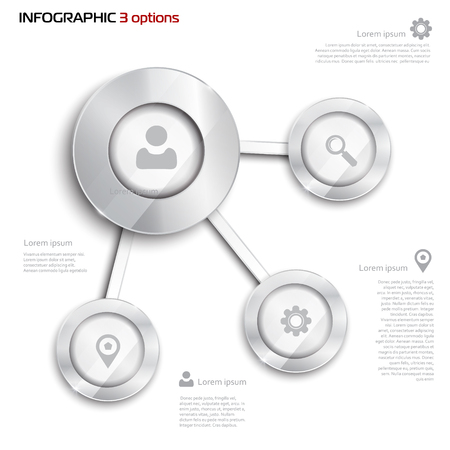whithe: Vector circle elements for infographic. Template for presentation, diagram, graph. Business concept with 3 options, parts, steps or processes. Abstract 3D digital illustration Infographic. silver elements on whithe background