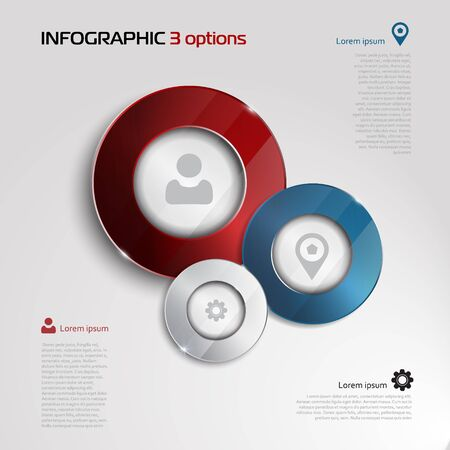 whithe: Vector circle elements for infographic. Template for presentation, diagram, graph. Business concept with 3 options, parts, steps or processes. Abstract 3D digital illustration Infographic. silver, blue and red elements on whithe background