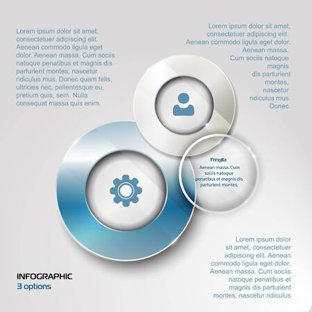 shiny button: elements for infographic. Template for diagram, graph, presentation. Business concept with 3 options, parts, steps or processes. design with a glass surface. shiny button with metallic elements Illustration