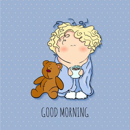 Bonjour. petit personnage mignon tenant tasse de café. jouet ours, fond bleu, le bobblehead avec les cheveux frisés. carte de souhaits