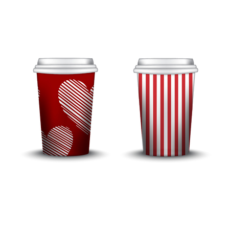 strips away: Coffee Cup With Patterns Template. Vector Illustration. Takeaway coffee cup set, Mockup isolated on white background. Packaging collection. red color. stripe swatch inside. hearts