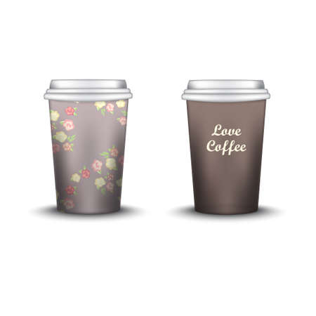 strips away: Coffee Cup With Patterns Template. Vector Illustration. Takeaway coffee cup set, Mockup isolated on white background. Packaging collection. shabby chic swatch inside. brown color