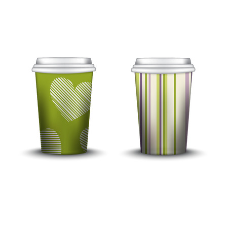 strips away: Coffee Cup With Patterns Template. Vector Illustration. Takeaway coffee cup set, Mockup isolated on white background. Packaging collection. shabby chic swatch inside. green color