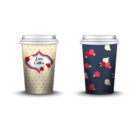 strips away: Coffee Cup With Patterns Template. Vector Illustration. Takeaway coffee cup set, Mockup isolated on white background. Packaging collection. shabby chic swatch inside Illustration