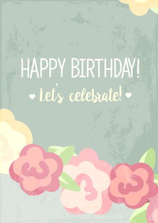 first birthday: Happy First Birthday Anniversary card with roses. green background. congratulations poster