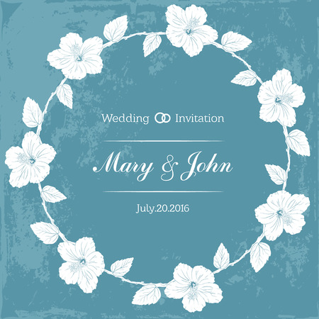 sharpen: round frame with hibiscus flowers. Vector illustration. Wedding invitation. old sharpen shabby blue background. Sketch linear floral wreath