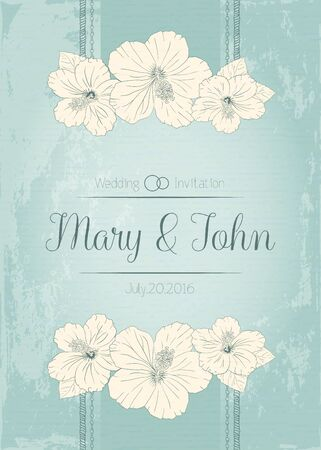 sharpen: template for certificate with hibiscus flowers. Vector illustration. Elegant wedding invitation design, Greeting Card. aged sharpen blue background