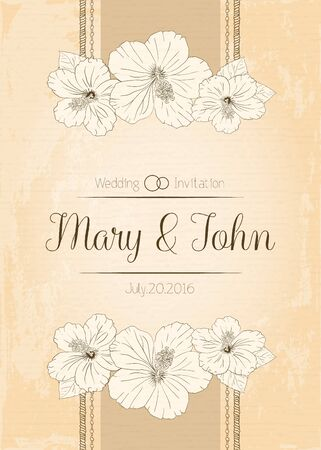 sharpen: illustration with hibiscus flowers. Vector congratulation or invitation card. aged sharpen beige background