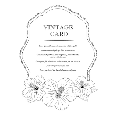 invitation frame frame with hibiscus flowers vector illustration elegant wedding invitation design