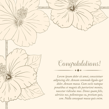 sharpen: illustration with hibiscus flowers. Vector congratulation or invitation card. old sharpen beige background