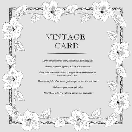 sharpen: square frame with hibiscus flowers. Vector illustration. Wedding invitation. old sharpen shabby background. Sketch roses and branches. vintage card. gray Illustration