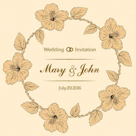 sharpen: round frame with hibiscus flowers. Vector illustration. Wedding invitation. textured sharpen paper background. Sketch linear floral wreath Illustration