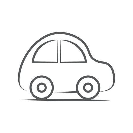 whithe: Car icon. Vector illustration gray Line on whithe background Illustration