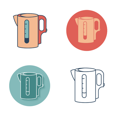 electric tea kettle: Electric kettle symbol. Tea icons set. Color, contour lines, silhouette. Vector clip art isolated Illustration
