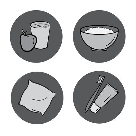 food hygiene: healthy life icons set. food, hygiene, sleep, water signs. round elements