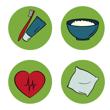 food hygiene: healthy life icons set. food, hygiene, sleep, water signs. round elements. green red blue color