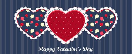 happy valentines day card. red heart on dark blue background Illustration