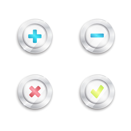 Yes no and plus minus buttons. Tick and cross. round banners. 3d. silver elements with glass surface. green red blue. Vectores