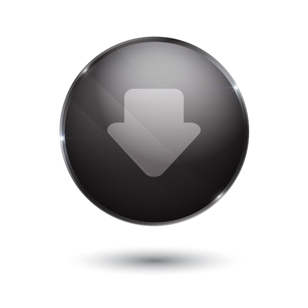 torrent: download sign icon. round black button isolated on white background. glass surface. arrow down
