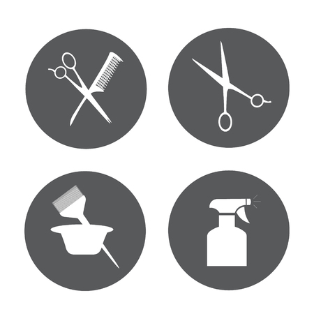 hair color: Hairdressing equipment . Barber and Salon Hairdresser Icon Set
