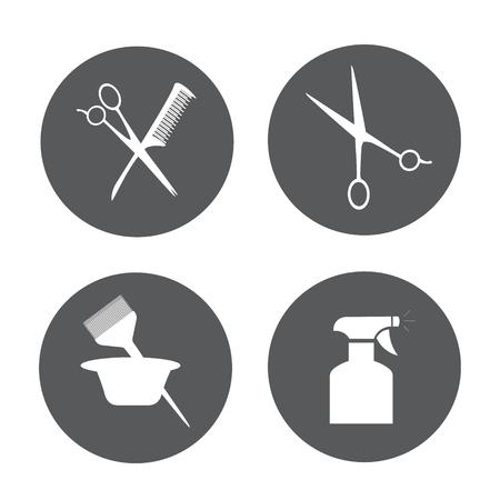 hair spray: Hairdressing equipment . Barber and Salon Hairdresser Icon Set