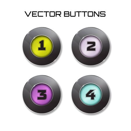 3 4: label. Vector modern black web buttons set with color surfise inside. one two three four 1 2 3 4 options