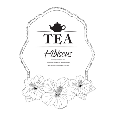 chinese teapot: vector illustration. Chinese Rose. template packaging tea, label, banner, poster, identity, branding. Hand drawn. teapot with hibiscus. Stylish design for herb red tea. carcade