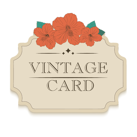 sorrel: illustration with hibiscus flowers. Vector congratulation or invitation card. floral beige background. badge, label, banner