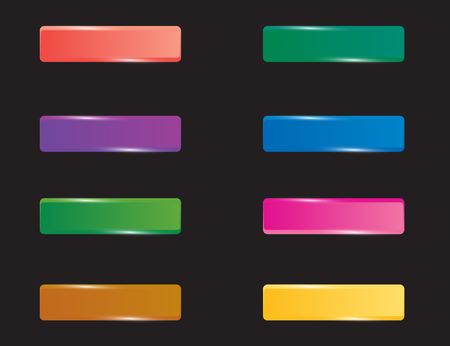 shiny buttons: Colorful set of rectangle horizontal shiny banner buttons