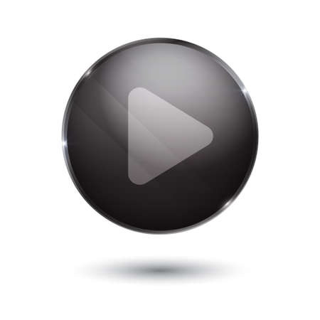 torrent: play sign icon. round black button isolated on white background. glass surface. player. start.