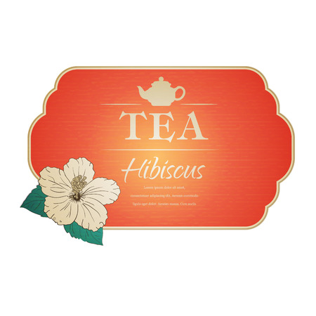 tea rose: vector illustration. Chinese Rose. template packaging tea, label, banner, poster, identity, branding. Hand drawn. teapot with hibiscus. Stylish design for herb red tea. carcade