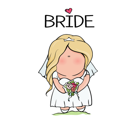 bridal shower. cute girl in wedding dress hending flowers. print on t-shirt. Bachelorette party. heart. banner or sticker. isoleted illustration