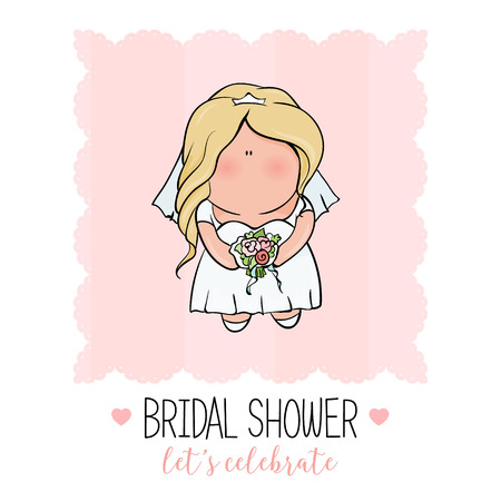 happy wedding: bridal shower. cute girl in wedding dress hending flowers. print on t-shirt. Bachelorette party. Romantic announcement for bridal shower party. invitation or congratulation card in cute doodle style.