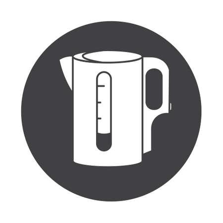 electric tea kettle: Electric kettle monochrome symbol. Tea, Teapot icon. white silhouette round illustration.