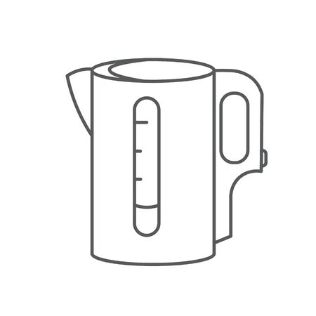 Electric kettle monochrome symbol. Tea, Teapot icon. contour lines